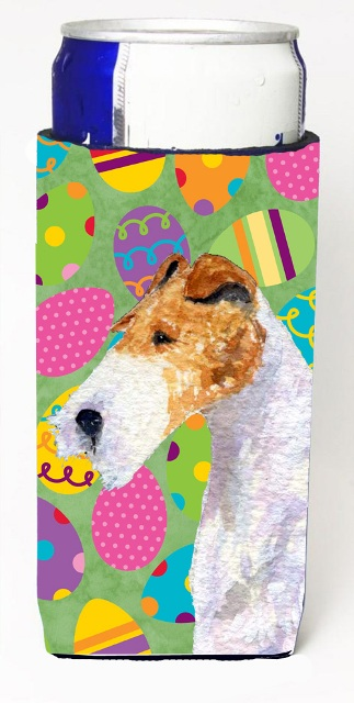 Carolines Treasures SS4823MUK Fox Terrier Easter Eggtravaganza Michelob Ultra bottle sleeves For Slim Cans - 12 oz.
