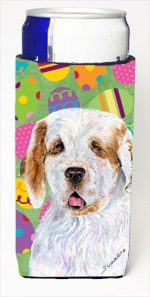 Carolines Treasures SS4845MUK Clumber Spaniel Easter Eggtravaganza Michelob Ultra bottle sleeves For Slim Cans - 12 Oz.