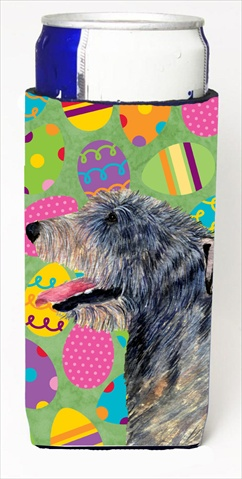 Carolines Treasures SS4851MUK Irish Wolfhound Easter Eggtravaganza Michelob Ultra bottle sleeves For Slim Cans - 12 Oz.