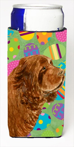 Carolines Treasures SS4855MUK Sussex Spaniel Easter Eggtravaganza Michelob Ultra bottle sleeves For Slim Cans - 12 Oz.