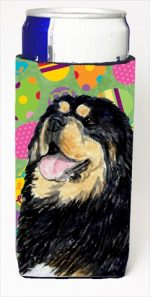 Carolines Treasures SS4857MUK Tibetan Mastiff Easter Eggtravaganza Michelob Ultra bottle sleeves For Slim Cans - 12 Oz.