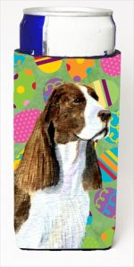Carolines Treasures SS4858MUK Springer Spaniel Easter Eggtravaganza Michelob Ultra bottle sleeves For Slim Cans - 12 Oz.