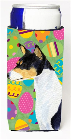 Carolines Treasures SS4859MUK Basenji Easter Eggtravaganza Michelob Ultra bottle sleeves For Slim Cans - 12 Oz.
