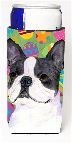 Carolines Treasures SS4861MUK Boston Terrier Easter Eggtravaganza Michelob Ultra bottle sleeves For Slim Cans - 12 Oz.
