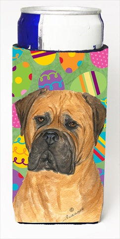Carolines Treasures SS4862MUK Bullmastiff Easter Eggtravaganza Michelob Ultra bottle sleeves For Slim Cans - 12 Oz.