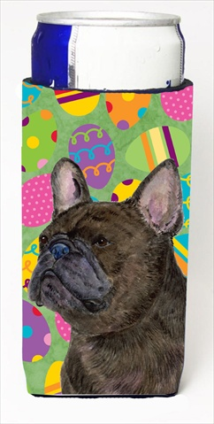 Carolines Treasures SS4864MUK French Bulldog Easter Eggtravaganza Michelob Ultra bottle sleeves For Slim Cans - 12 Oz.