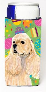 Carolines Treasures SS4867MUK Cocker Spaniel Easter Eggtravaganza Michelob Ultra bottle sleeves For Slim Cans - 12 Oz.