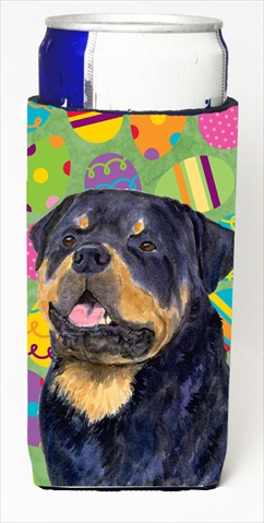 Carolines Treasures SS4869MUK Rottweiler Easter Eggtravaganza Michelob Ultra bottle sleeves For Slim Cans - 12 Oz.