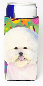 Carolines Treasures SS4871MUK Bichon Frise Easter Eggtravaganza Michelob Ultra bottle sleeves For Slim Cans - 12 Oz.