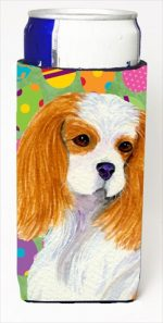 Carolines Treasures SS4872MUK Cavalier Spaniel Easter Eggtravaganza Michelob Ultra bottle sleeves For Slim Cans - 12 Oz.