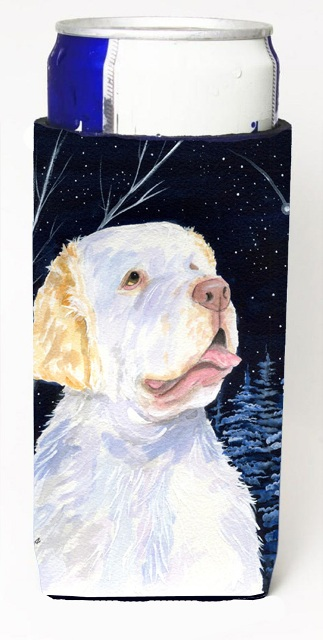 Carolines Treasures SS8356MUK Starry Night Clumber Spaniel Michelob Ultra bottle sleeves For Slim Cans - 12 oz.