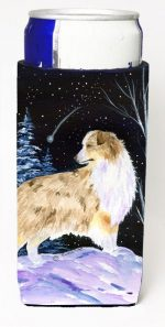 Carolines Treasures SS8359MUK Starry Night Australian Shepherd Michelob Ultra bottle sleeves For Slim Cans - 12 oz.