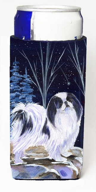 Carolines Treasures SS8374MUK Starry Night Japanese Chin Michelob Ultra bottle sleeves For Slim Cans - 12 oz.