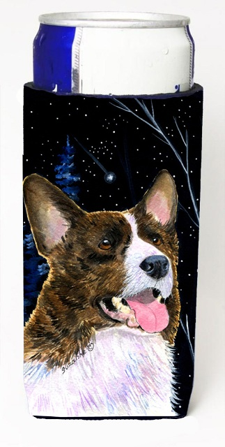Carolines Treasures SS8387MUK Starry Night Corgi Michelob Ultra bottle sleeves For Slim Cans - 12 oz.