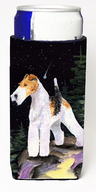 Carolines Treasures SS8503MUK Starry Night Fox Terrier Michelob Ultra bottle sleeves For Slim Cans - 12 oz.