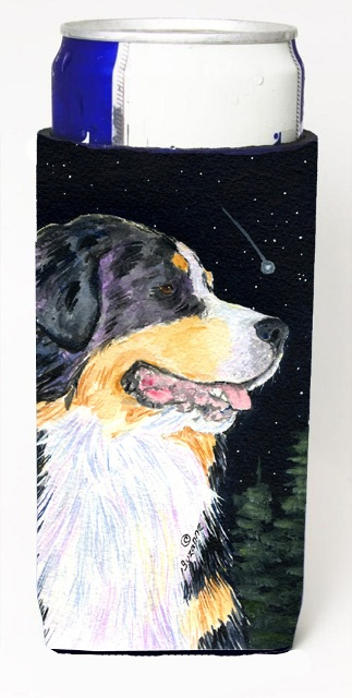 Carolines Treasures SS8512MUK Starry Night Bernese Mountain Dog Michelob Ultra bottle sleeves For Slim Cans - 12 oz.
