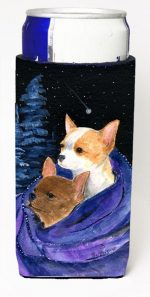 Carolines Treasures SS8513MUK Starry Night Chihuahua Michelob Ultra bottle sleeves For Slim Cans - 12 oz.
