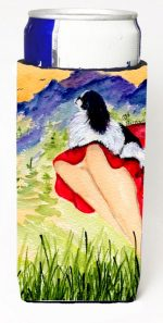 Carolines Treasures SS8524MUK Lady With Her Japanese Chin Michelob Ultra bottle sleeves For Slim Cans - 12 oz.