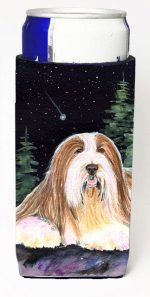 Carolines Treasures SS8529MUK Starry Night Bearded Collie Michelob Ultra bottle sleeves For Slim Cans - 12 oz.