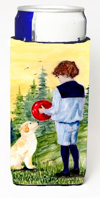 Carolines Treasures SS8530MUK Little Boy With His Golden Retriever Michelob Ultra bottle sleeves For Slim Cans - 12 oz.