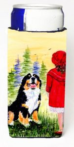 Carolines Treasures SS8531MUK Little Girl With Her Bernese Mountain Dog Michelob Ultra bottle sleeves For Slim Cans - 12 oz.