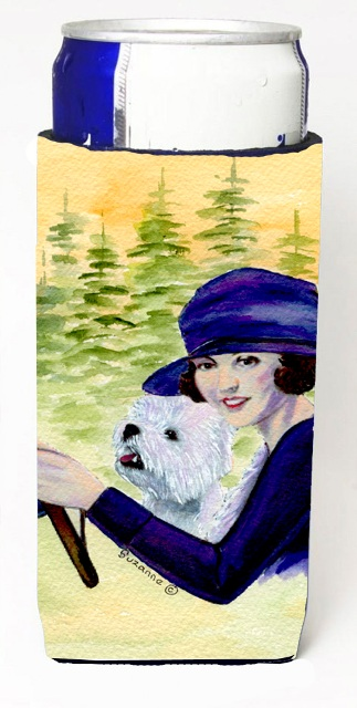 Carolines Treasures SS8532MUK Woman Driving With Her Westie Michelob Ultra bottle sleeves For Slim Cans - 12 oz.