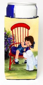 Carolines Treasures SS8533MUK Little Girl With Her Bichon Frise Michelob Ultra bottle sleeves For Slim Cans - 12 oz.