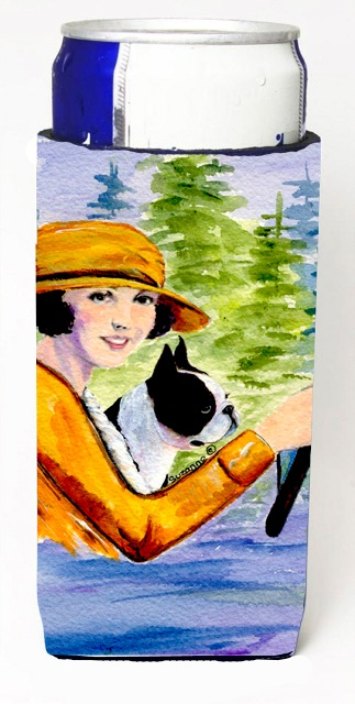 Carolines Treasures SS8534MUK Woman Driving With Her Boston Terrier Michelob Ultra bottle sleeves For Slim Cans - 12 oz.