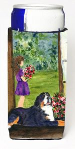 Carolines Treasures SS8535MUK Little Girl With Her Bernese Mountain Dog Michelob Ultra bottle sleeves For Slim Cans - 12 oz.