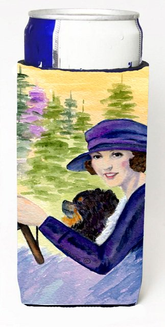 Carolines Treasures SS8538MUK Lady Driving With Her Pomeranian Michelob Ultra bottle sleeves For Slim Cans - 12 oz.