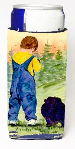 Carolines Treasures SS8544MUK Little Boy With His Pomeranian Michelob Ultra bottle sleeves For Slim Cans - 12 oz.