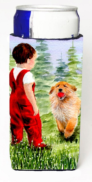 Carolines Treasures SS8545MUK Little Boy With His Golden Retriever Michelob Ultra bottle sleeves For Slim Cans - 12 oz.