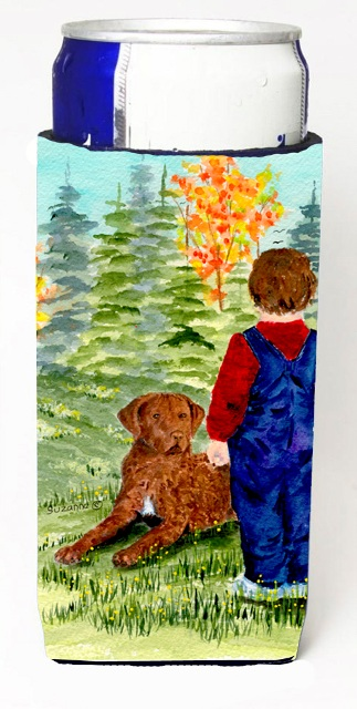 Carolines Treasures SS8547MUK Little Boy With His Chesapeake Bay Retriever Michelob Ultra bottle sleeves For Slim Cans - 12 oz.