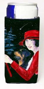 Carolines Treasures SS8551MUK Lady Driving With Her Rottweiler Michelob Ultra bottle sleeves For Slim Cans - 12 oz.