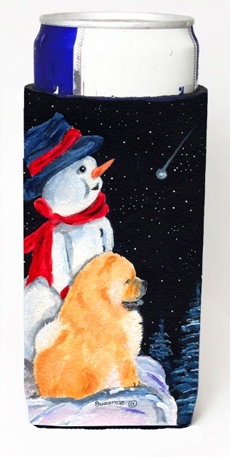Carolines Treasures SS8554MUK Snowman With Chow Chow Michelob Ultra bottle sleeves For Slim Cans - 12 oz.