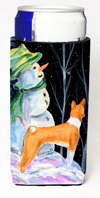 Carolines Treasures SS8556MUK Snowman With Basenji Michelob Ultra bottle sleeves For Slim Cans - 12 oz.