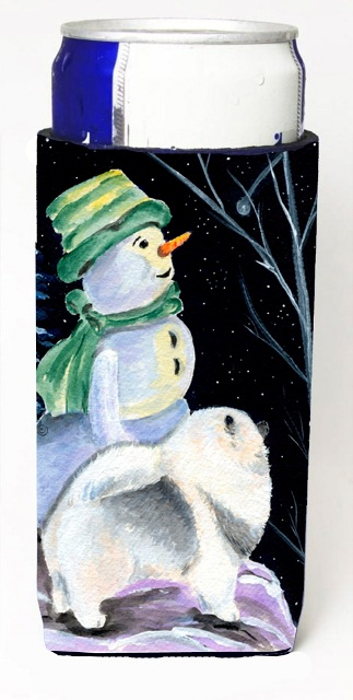 Carolines Treasures SS8557MUK Snowman With Keeshond Michelob Ultra bottle sleeves For Slim Cans - 12 oz.