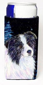 Carolines Treasures SS8558MUK Starry Night Border Collie Michelob Ultra bottle sleeves For Slim Cans - 12 oz.