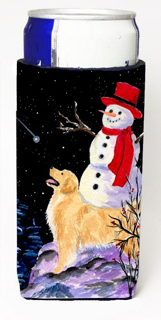 Carolines Treasures SS8579MUK Golden Retriever With Snowman In Red Hat Michelob Ultra bottle sleeves For Slim Cans - 12 oz.