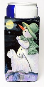 Carolines Treasures SS8797MUK Snowman With Westie Michelob Ultra bottle sleeves For Slim Cans - 12 Oz.