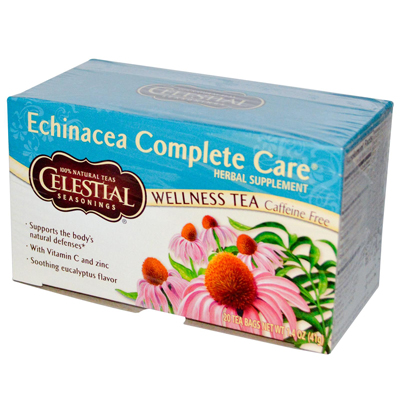 Celestial Seasonings 0726901 Echinacea Complete Care Wellness Tea Caffeine Free - 20 Tea Bags