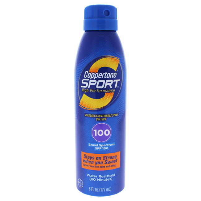 Coppertone U-SC-4504 6 oz Sport Sunscreen Continuous Spray for Unisex SPF 100