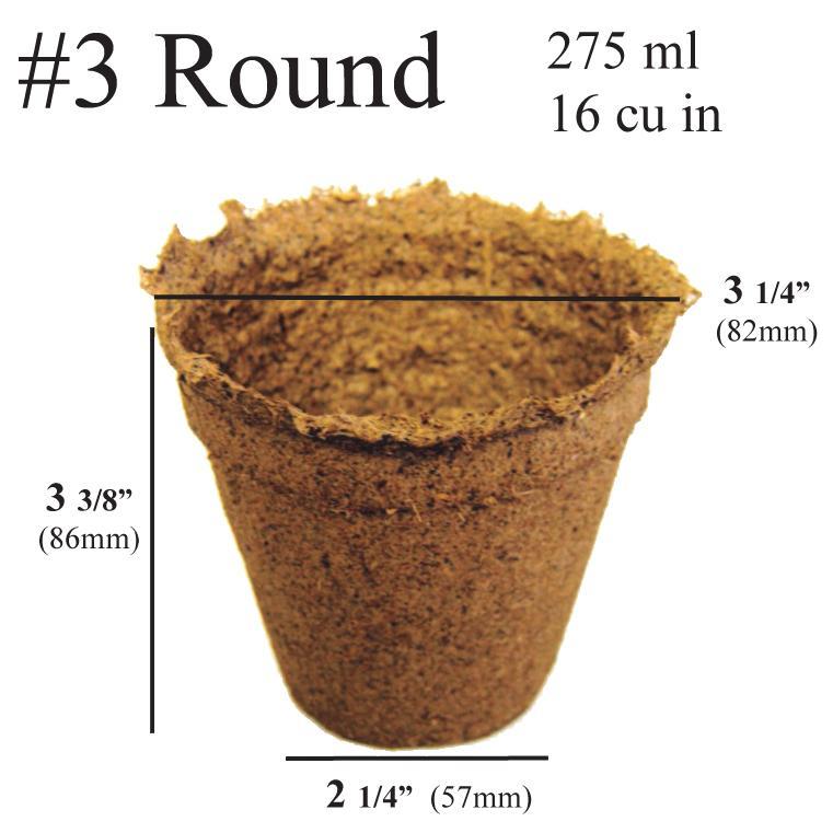 CowPots No.3 Rnd-90 3 in. Round Pot 275 ml - 16 Cu. in. - Pots of 90