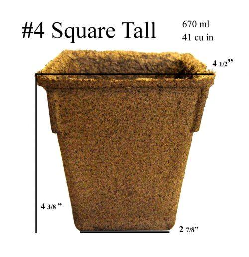 CowPots No.4 Sq-36 4 in. Square Pot 450 ml - 27 Cu. in. - Pots of 36