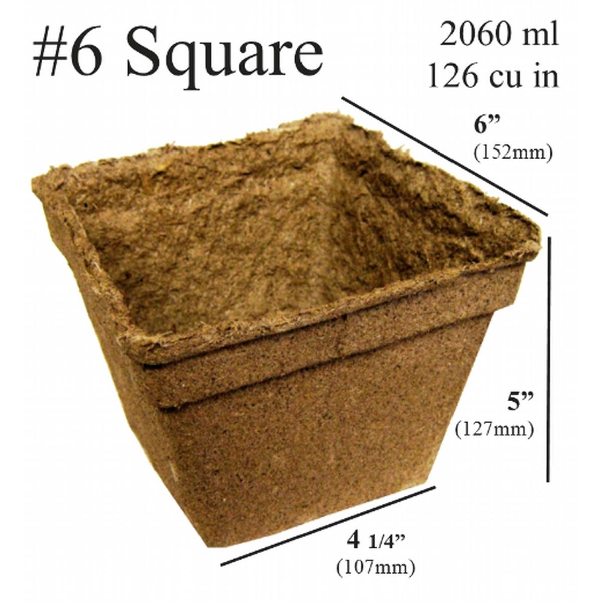 CowPots No.6 Sq-16 6 in. Square Pot 2060 ml - 126 Cu. in. - Pots of 16