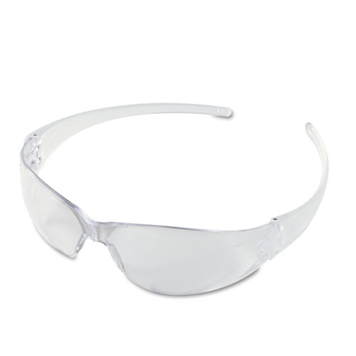 Crews CK110BX Checkmate Wraparound Safety Glasses Clear Polycarbonate Frame Clear Lens
