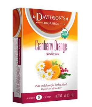 Davidsons Organics 1128 Single Serve Cranberry Orange Tea - 100 Count