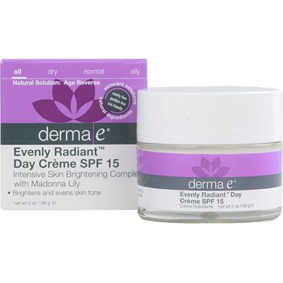 Derma E Evenly Radiant Day Cr me Spf 15 - 2 Oz