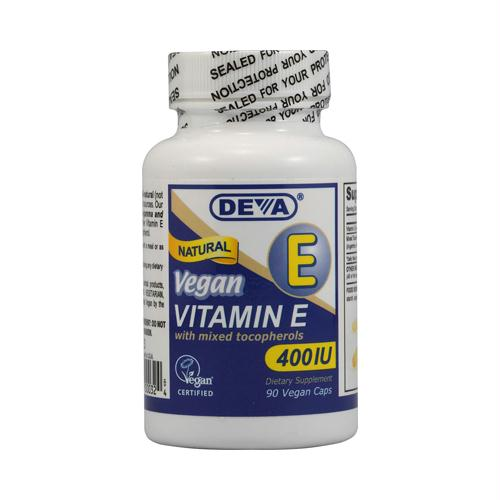 Deva Vegan Vitamins 151605 Deva Vegan Vitamin E with Mixed Tocopherols - 400 IU - 90 Vegan Capsules