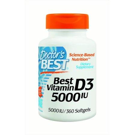 Doctors Best D250 Vitamin D3 5000 IU 360 SFG